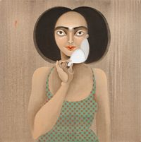 Moustache mask by Hayv Kahraman contemporary artwork painting