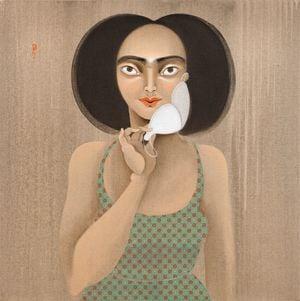Moustache mask by Hayv Kahraman contemporary artwork