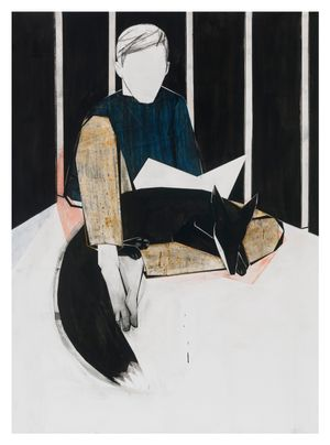 Sitting with fox (yellow trousers) by Iris Schomaker contemporary artwork