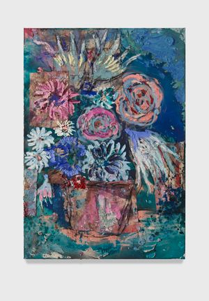Flowers 11 (petrol blue) by Daniel Crews-Chubb contemporary artwork