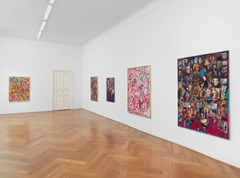 Exhibition view: Richard Hawkins, Collage Paintings, Gesture Paintings, Galerie Buchholz, Berlin(14 September–13 October 2018). Courtesy Galerie Buchholz.