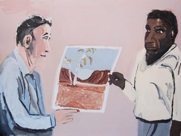 Vincent Namatjira, Rex Batterbee and Albert Namatjira, (2017). Acrylic on canvas, 91 x 122cm. Courtesy THIS IS NO FANTASY + dianne tanzer gallery.