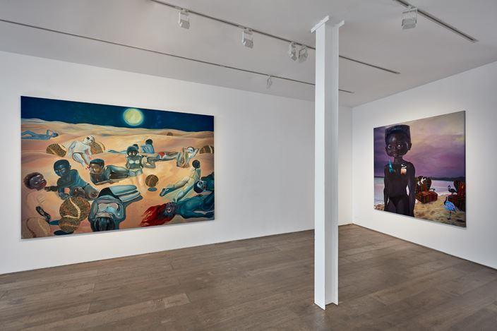 Exhibition view:Ndidi Emefiele, Here as in Heaven, Rosenfeld, London (1 October–13 November 2020). Courtesy Rosenfeld.