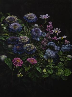 Violet dahlias by Helena Parada Kim contemporary artwork