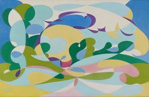 Linee forze di paesaggio + volo di rondini by Giacomo Balla contemporary artwork