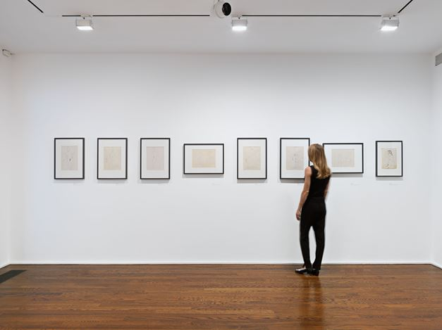 Exhibition view: Eva Hesse, Forms Larger and Bolder: EVA HESSE DRAWINGS from the Allen Memorial Art Museum at Oberlin College, Hauser & Wirth, 69th Street, New York (5 September–19 October 2019). © The Estate of Eva Hesse. Courtesy Hauser & Wirth. Photo: Genevieve Hanson.