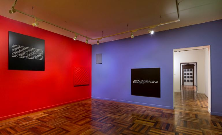 Exhibition view: Group Exhibition, Colour in Contextual Play. An Installation by Joseph Kosuth / Neon in Contextual Play: Joseph Kosuth and Arte Povera, Mazzoleni, Torino (31 October 2017–20 January 2018). Courtesy Mazzoleni London Torino.