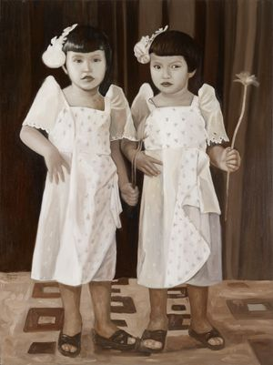 Elisa & Laura holding a flower, 1956 by Marina Cruz contemporary artwork