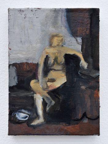 Twisting Nude, 2021. Oil on board, 7 x 5 in. Courtesy Thomas Erben Gallery.