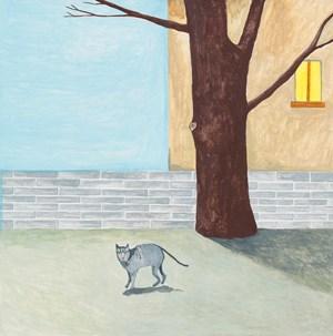 Pet cat frightened by Noel McKenna contemporary artwork