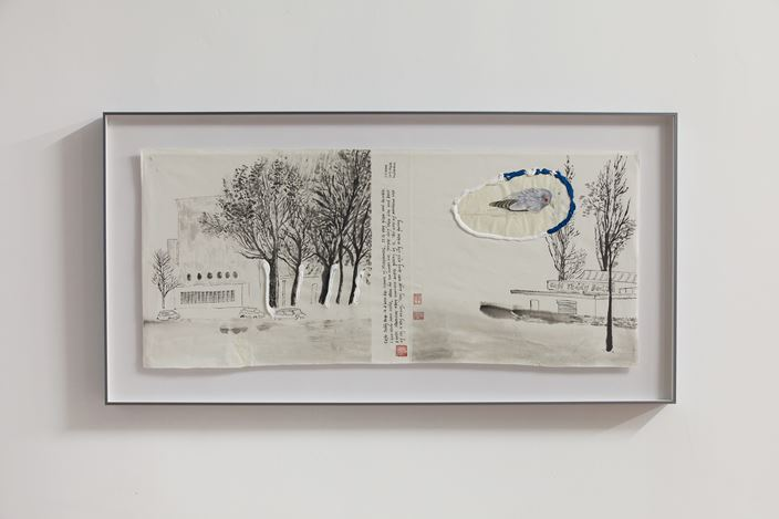 Evelyn Taocheng Wang, Eight View of Oud-Charlois No.7, (2019). Ink, Acrylic on Rice Paper, 46x104cm. Courtesy of the artist and Antenna Space
