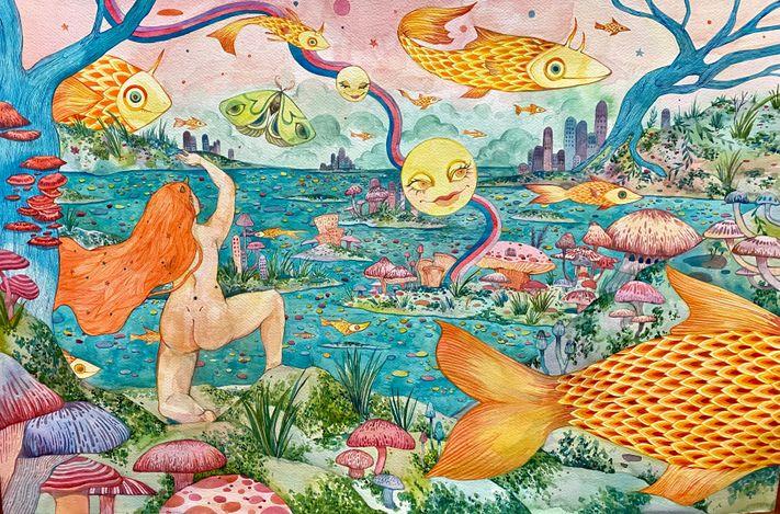Charlotte Mui Ngo-Suet, O The Fool (2021). Watercolour on paper, 59 x 89 cm. Courtesy Alisan Fine Arts.