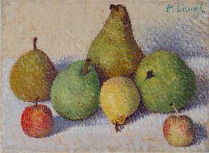 Nature morte aux cinq poires et aux deux pommes by Achille Laugé contemporary artwork