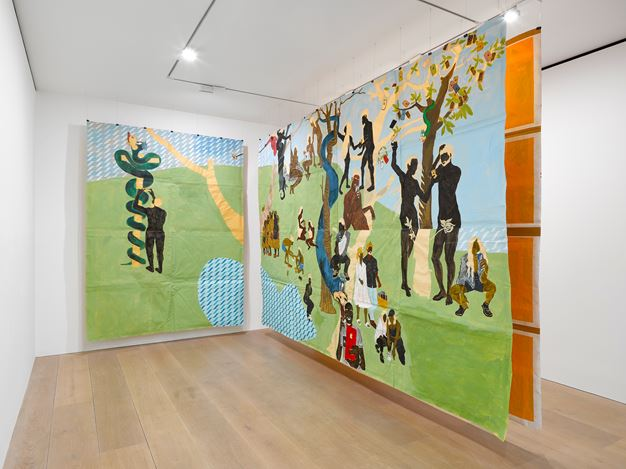 Exhibition view: Maxwell Alexandre, Pardo é Papel: Close a door to open a window, David Zwirner, London (2 December 2020–30 January 2021). Courtesy David Zwirner.