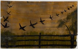 Untitled (Birds flying over a fence and meadow) by Frank Walter contemporary artwork