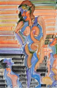 Social Distancing by Etsu Egami contemporary artwork painting, works on paper