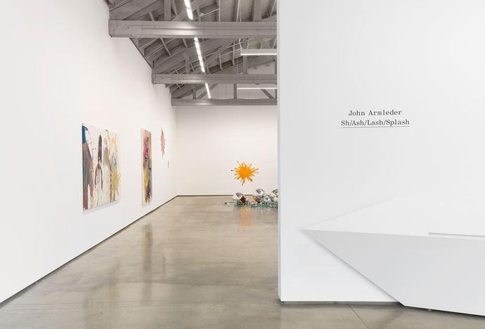 Exhibition view: John M Armleder,Sh/Ash/Lash/Splash, David Kordansky Gallery, Los Angeles (27 June–24 August 2019). Courtesy David Kordansky Gallery.