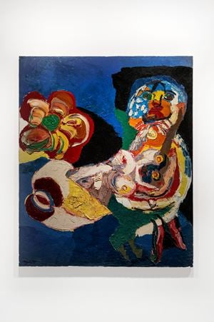 Woman with flower by Karel Appel contemporary artwork