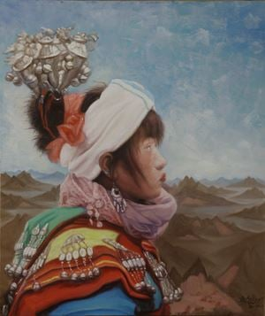 A girl of Miao with landscape background No. 2 by Guo Jian contemporary artwork