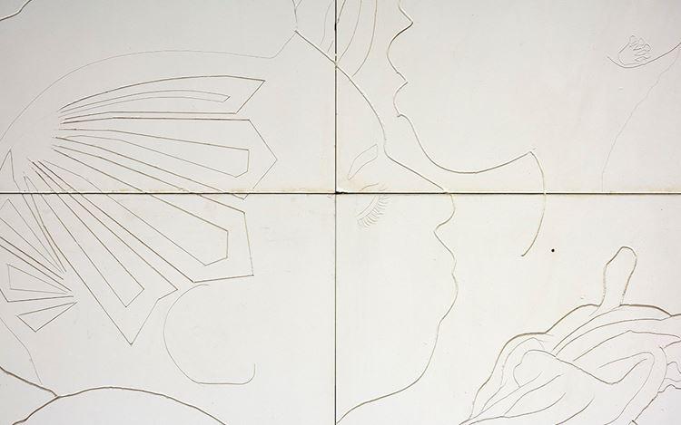 Lauren Halsey, Untitled (2020) (detail). Hand-carved gypsum on wood. 96 x 48 x 2 7/8 inches(243.8 x 121.9 x 7.3 cm). CourtesyDavid Kordansky Gallery, Los Angeles.