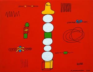Pon Pon White Circle by Sadamasa Motonaga contemporary artwork