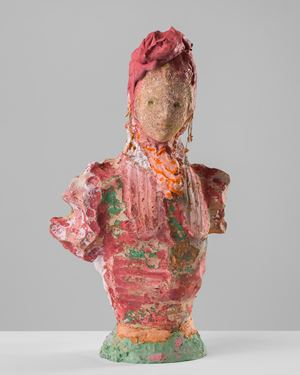 Woman with coral earrings by Linda Marrinon contemporary artwork sculpture