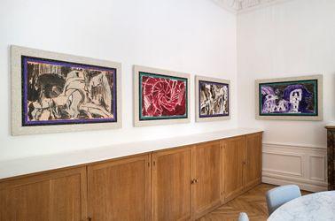 Exhibition view: Alechinsky with Kolar and Balzac, Galerie Lelong & Co.,Rue de Téhéran, Paris (9 September–23 October 2021). © Pierre Alechinsky. Courtesy Galerie Lelong & Co.Photo: Fabrice Gibert.
