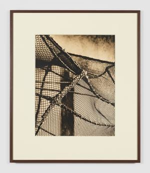 Scenic prop. Bird catcher's cage. Cloth-wrapped PVC structure with cotton and polyester thread net. by João Penalva contemporary artwork