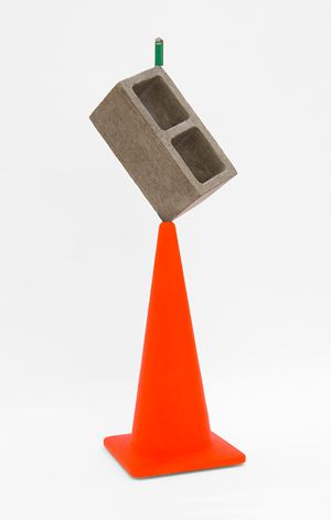 Traffic cone with a block and a lighter by Matt Johnson contemporary artwork