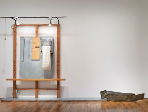 White Easel with wooden hand by Edward Kienholz and Nancy Reddin Kienholz contemporary artwork