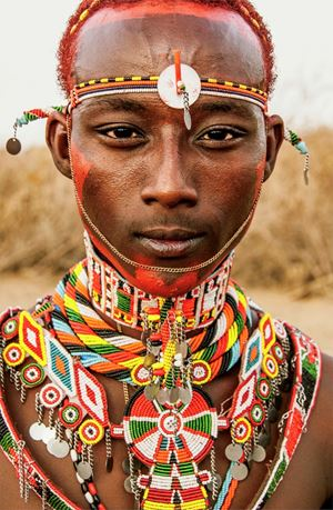 Rendille Warrior with Beaded Adornments, Kenya by Carol Beckwith & Angela Fisher contemporary artwork