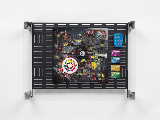 Crypto Futures Game of Life Overprint Collage: Electronic Banking Dystopia by Simon Denny contemporary artwork