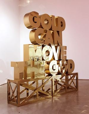 GOLD CAN MOVE THE GOD by Zhang Ding contemporary artwork