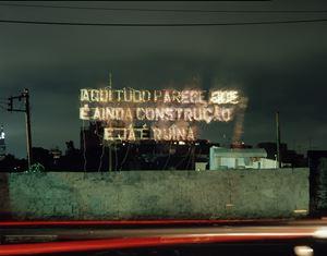 Aqui tudo parece que é ainda construção e já é ruína, a partir de 'Fora da Ordem' de Caetano Veloso by Cerith Wyn Evans contemporary artwork
