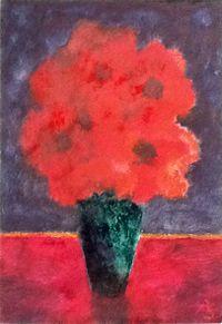 Rote Blumen in grüner Vase by Herbert Beck contemporary artwork painting, works on paper