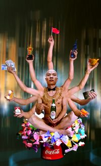 Requesting Buddha Series No. 1 by Wang Qingsong contemporary artwork print
