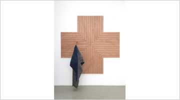 Contemporary art exhibition, Pia Camil, Slats, skins and shop fittings at Blum & Poe, New York