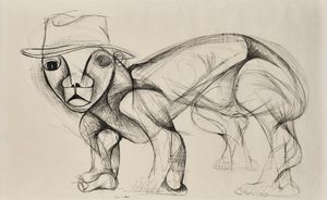 Self Portrait (animal with hat, ref #33.2) by Dumile Feni contemporary artwork