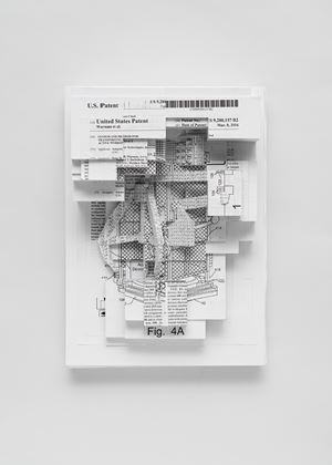 Document relief 3 (Amazon Worker Cage patent) by Simon Denny contemporary artwork