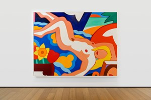 Sunset Nude, Floral Blanket by Tom Wesselmann contemporary artwork