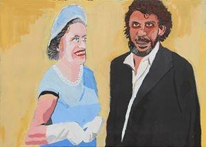 The Royal Tour (Elizabeth and Vincent) by Vincent Namatjira contemporary artwork