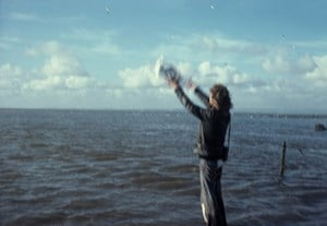 Releasing a seagull, Morecambe Bay, Lancashire, November 1976 by Andy Goldsworthy contemporary artwork
