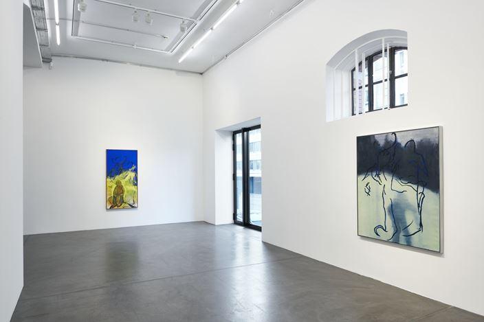 Exhibition view, Rita Ackermann, Brother and Sister, Hauser & Wirth, Zürich, (17 January–2 March 2019). © Rita Ackermann. Courtesy the artist and Hauser & Wirth. Photo: Jon Etter.