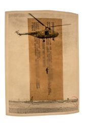 Sim Chi Yin, from the seriesInterventions, (2020). Original archive image: Imperial War Museus collection (British combat troops abseiling down from a helicopter,Malaya,September 1964). Courtesy Zilberman Gallery.