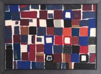 Squares and rectangles small (in wolle) by Julia Holderness contemporary artwork textile