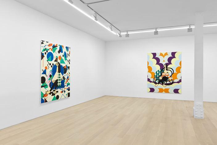 Exhibition view: Farah Atassi,Paintings, Almine Rech, New York (20 June–26 July 2019). © Farah Atassi.Courtesy the Artist and Almine Rech. Photo: Matthew Kroening.