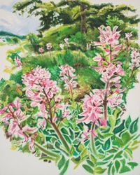 Wild Flowers - Flowering Dittany on the Perchtoldsdorf Heath by Anita Fricek contemporary artwork painting, works on paper