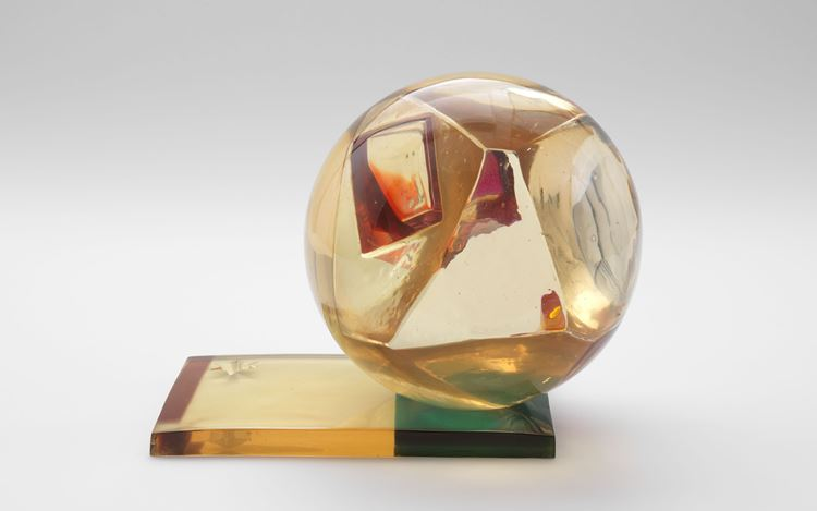Leo Amino, Refractional #39 (1965).Polyester resin.6 7/8 x11 inches. Courtesy David Zwirner.