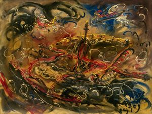 Kusamba Boat by Affandi contemporary artwork