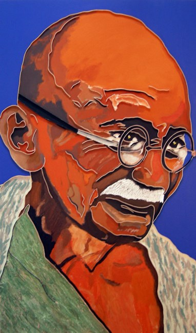 Gandhi in Homespun by Lee Waisler contemporary artwork